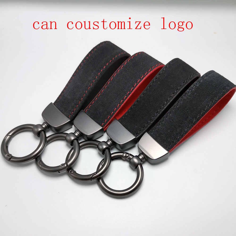 Realmente de couro sleutelhanger chave chaveiro anel de cadeia de carbono de carbono LOGOTIPO Personalizado PARA as mulheres homem