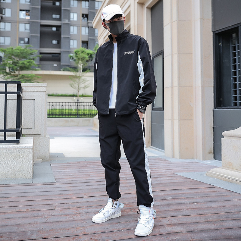 Male 3 Bar Stripes Gym Jogger Sport Pants Men Autumn Long Sleeve Jacket Pants 2 Piece Set Sweatsuit Men Sportswear Tracksuit Man
