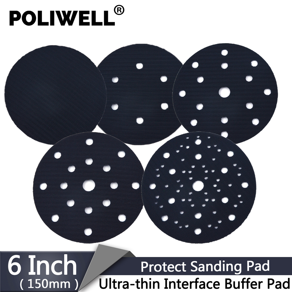 POLIWELL 1PCS 6'' 150 Mm Holes Ultra-thin Interface Buffer Pads Hook And Loop Sanding Pad Protection Self-adhesive Abrasive Pad