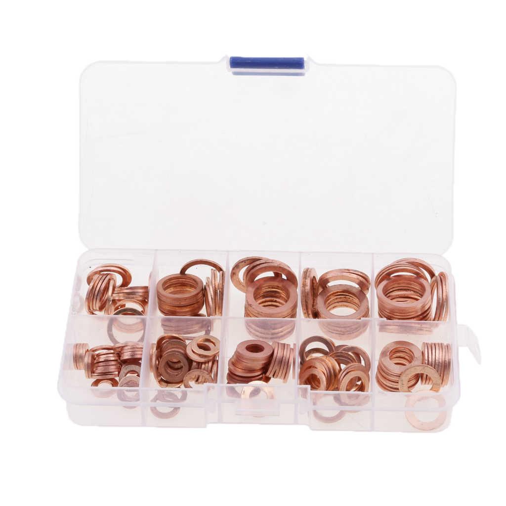 200 Buah Mesin Cuci Gasket Mur dan Baut Set Datar Seal Cincin Bermacam Kit & Box M5/M6/m8/M10/M12/M14 untuk Bah Plug Dropship