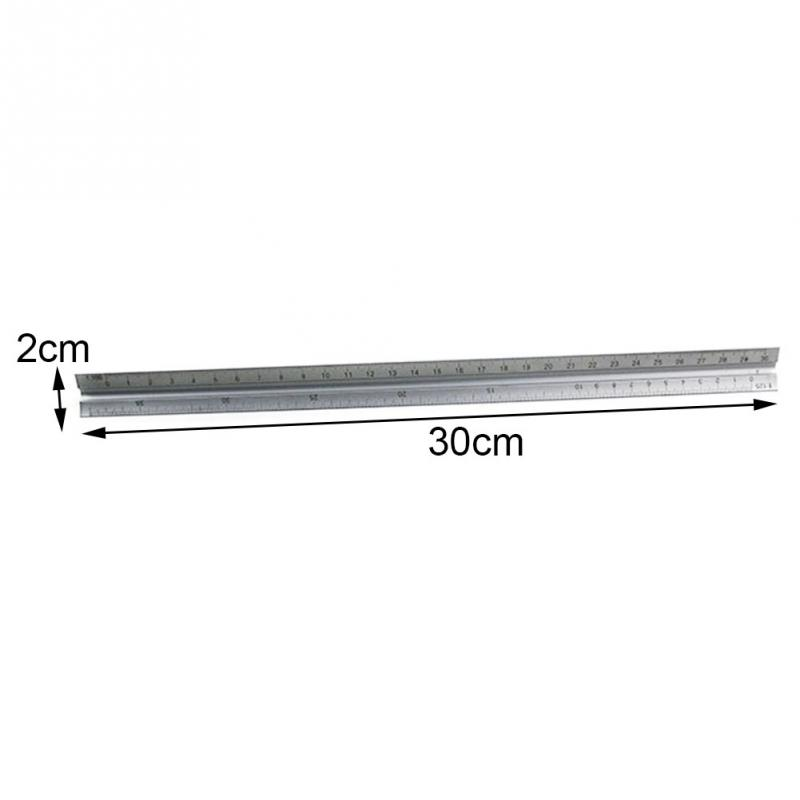 30cm Metal Silver Architect Technical Triangle Ruler Scale Clear Engineer Accurate Aluminum Alloy