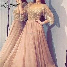 Arabski brokat suknie balowe obszywane koralikami pół rękawy szata de Soiree 2020 islamski kaftany linia wieczorowa sukienki na przyjęcie dubaj