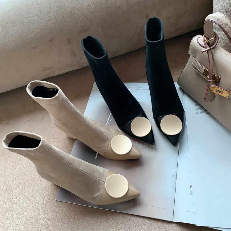 גרב מגפי נשים גבוהה עקבים Botas Mujer קרסול מגפי נשים להחליק על נעלי נשות הבוהן מחודדת בוטה Feminina Zapatos דה Mujer