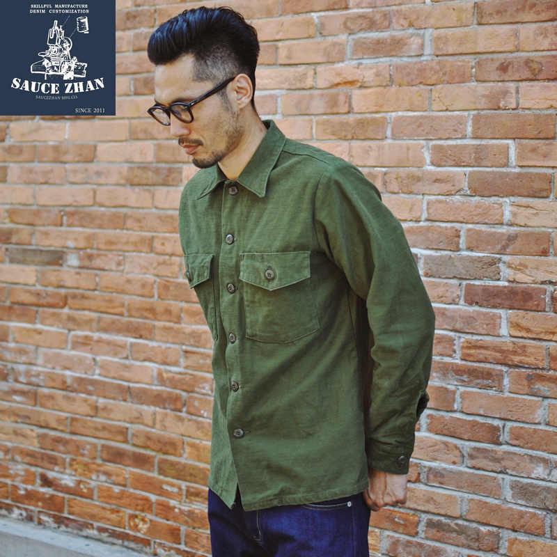 SauceZhan Og-107 ยูทิลิตี้ความเมื่อยล้าเสื้อ VINTAGE เสื้อผู้ชายเสื้อแขนยาวเสื้อบุรุษเสื้อ VINTAGE เสื้อ