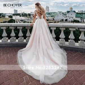 Image 2 - BECHOYER מתוקה אפליקציות חתונת שמלת עדין ורוד אשליה אונליין משפט רכבת נסיכת הכלה שמלת Vestido דה Noiva FY06