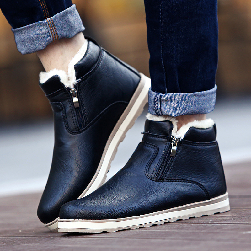 2019 Warm Men Shoes Winter Snow Boots Ankle Fashion Booties Non-slip Waterproof Solid Color Brushed Booties Shoes Men Plus Size