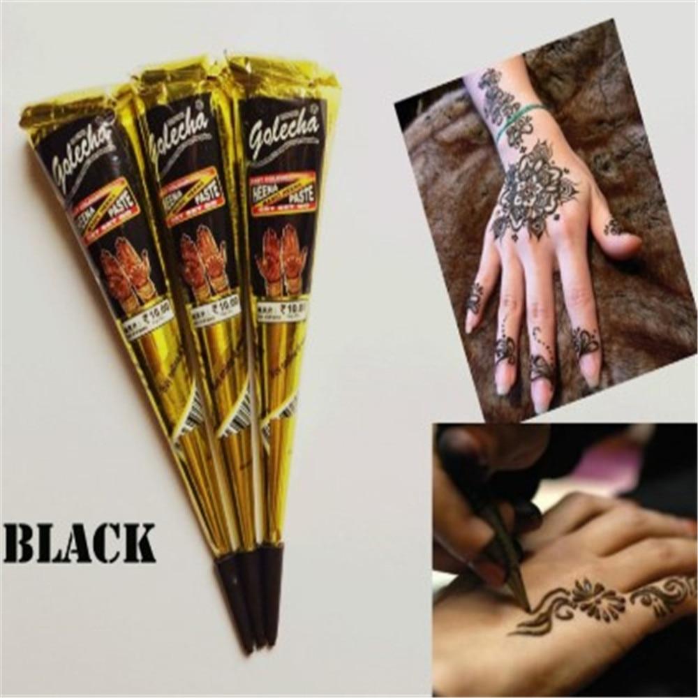 Новая паста для татуировки хной, черные, коричневые, красные, белые конусы хны, индийские для Временной Татуировки, наклейка для боди-арта, к...