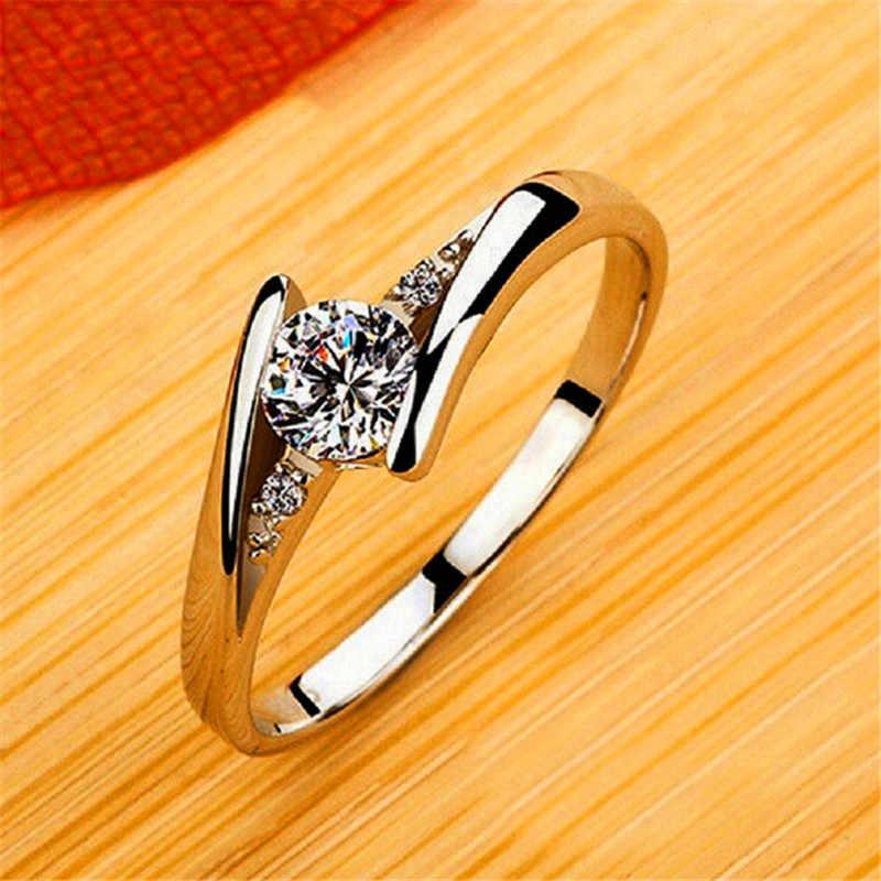 หญิงหรูหราขนาดเล็ก Zircon แหวนหินคริสตัล 925 เงินงานแต่งงานแหวนเครื่องประดับสัญญา Solitaire หมั้นแหวน