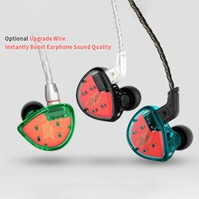 KZ-ES4 green In-ear Sports Earphone Armature+Dynamic Driver Noise Canceling HIFI Bass Sports Headset Wired Earphone without Mic цена