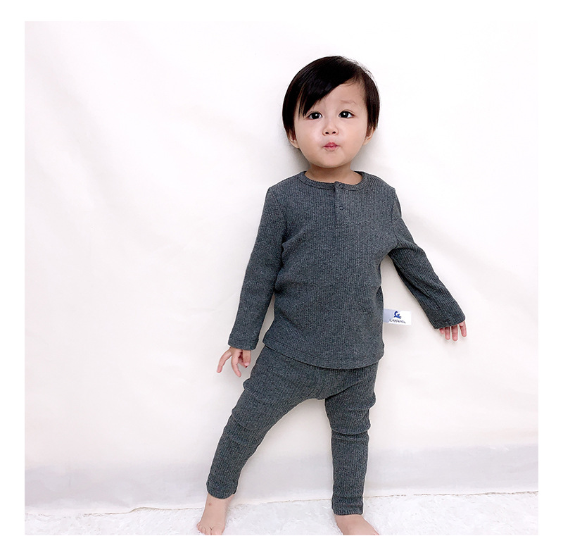 Soft Ribbed Toddler Girl Pajamas For Baby Boys Clothes Set Autumn Winter Children Outfits Long Sleeve Tops Pants 2 Pcs Kids Suit (5)