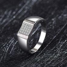 Мужское кольцо из серебра 925 пробы обручальные кольца Муассанит