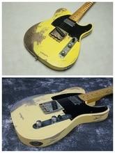 цена на Top Quality 100% Handmade Relic TL Electric Guitar R-TY33 Brass Saddles Brige Aged Hardware Humbucker