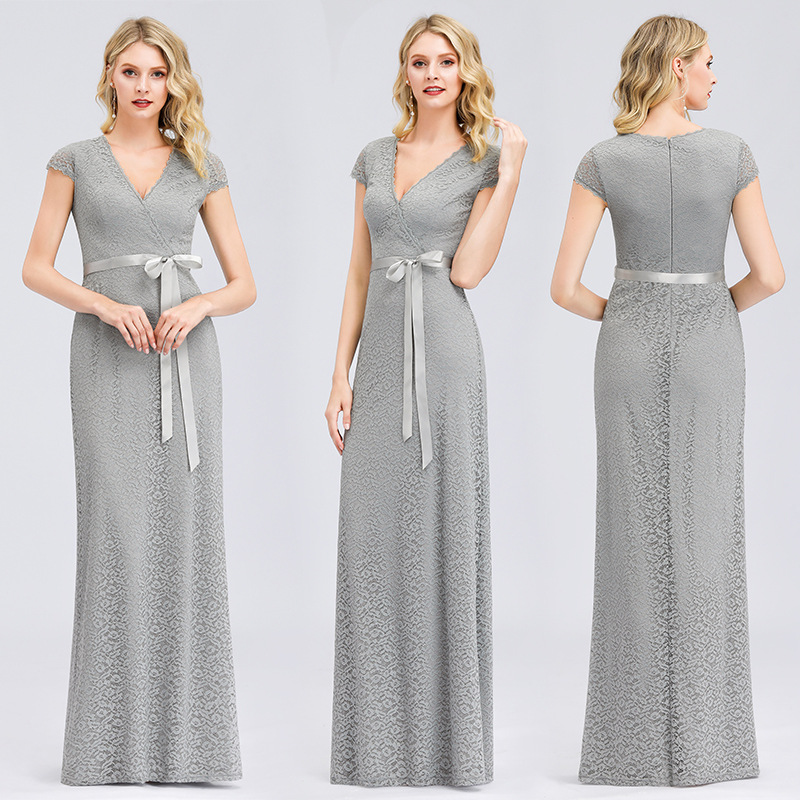Elegant Evening Dress Gray Pattern Women Party Gowns R145 Deep V-Neck Formal Banquet Long Dresses Short Sleeve Robe De Soiree