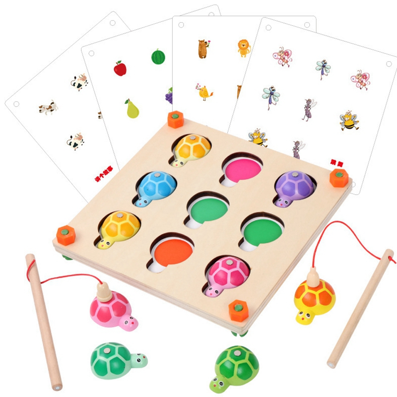 Memory Game And Fishing Game 2 In 1 Wooden Toys For Preschool Children Family Party Interactive Toy