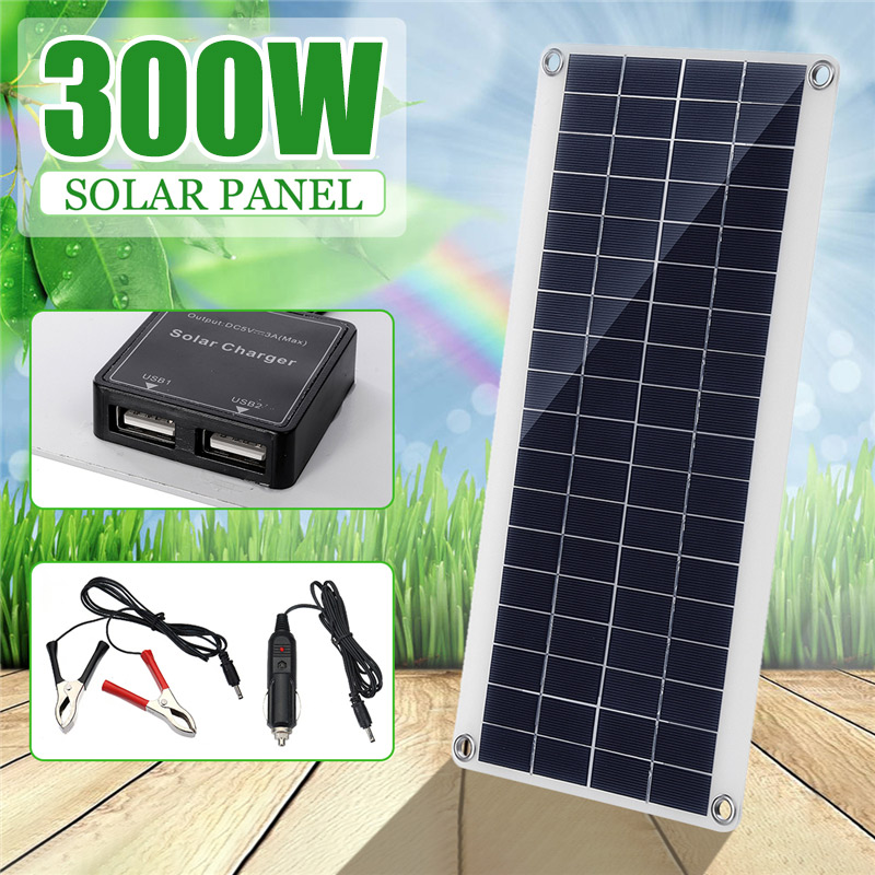 300W Solar Panel portable Dual 12/5V DC USB fast charging waterproof emergency charging outdoor Battery Charger for Car Yacht RV|Solar Cells| - AliExpress