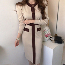 Autumn And Winter Vintage 2 Piece Set Women Knitted Suit Elegant Temperament Slimming Top  Package Hip Skirt  Female  Korean Clo