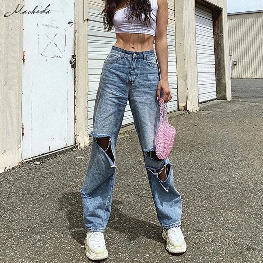 Macheda 2019 New High waist Women's Fashion Loose Destroyed Hole Denim Mopping pants Casual Vintage Wide leg Jeans Trousers