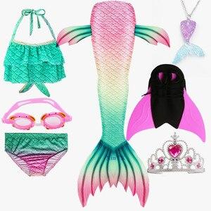 Image 2 - 女の子人魚の尾ブラジャーショーツ monofin 水着コスプレドレス子供子供マーメイドテール服水着フリッパー衣装
