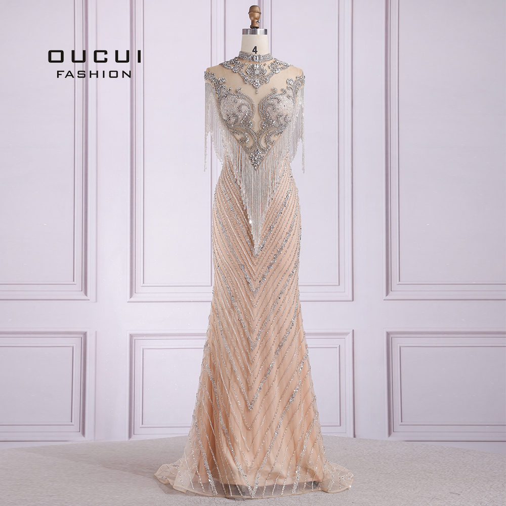 Dubai Tassel Sexy Long Evening Dress 2019 Sleeveless Sweep Train Beading High Neckline Stunning Sheer Back Formal Gown OL103653