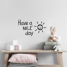 Have a NICE day Lovely sun Wall Sticker living room bedroom Accessories Home Decor Decals Art English alphabet wallpaper