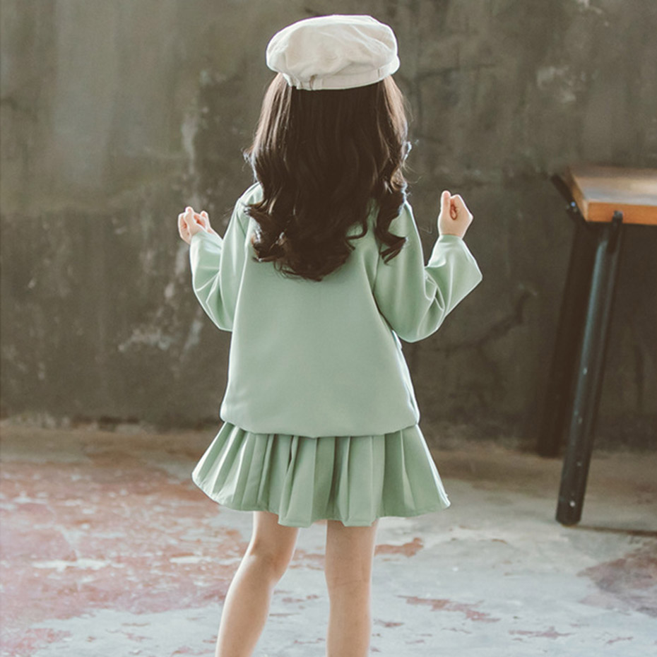 Image 2 - Girls Clothes Pleated Skirt & Jacket Girls Clothing Solid Outerwear Suit For Girls School Uniform Fashion Kid Winter ClothesClothing Sets   -