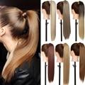 Длинный прямой хвост SNOILITE с зажимом, накладные волосы, хвост, шиньон с заколками для волос, синтетические волосы, наращивание волос с конски...