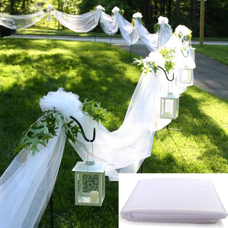 Backdrop Railing Decoration Organza Wedding Yarn Tulle Sheer Crystal Fabric Birthday Party Wedding Arch Ceremony 48cm X 5m