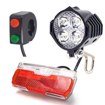 70 Lux Ebike reflektor i tylne światło zestaw elektryczny rower przednie światła z róg napięcie pracy 18V 24V 36V 48V e światło rowerowe tanie i dobre opinie Onature CN (pochodzenie) Inne Plastic 60*60*50mm 94 5*35*29mm 70 lux 3W 30 lux 1 5W 4pcs high quality LED 1pcs powerful LED
