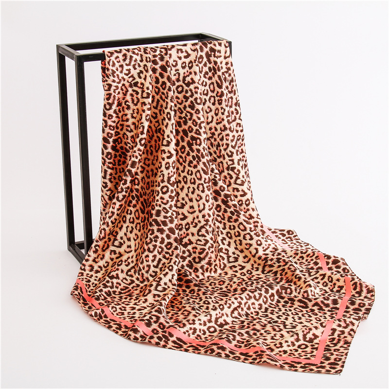 Fashion Leopard Print Scarves And Shawls Silk Satin Neck Scarf For Women 90cm*90cm Square Wraps Headband Hair Scarfs For Ladies