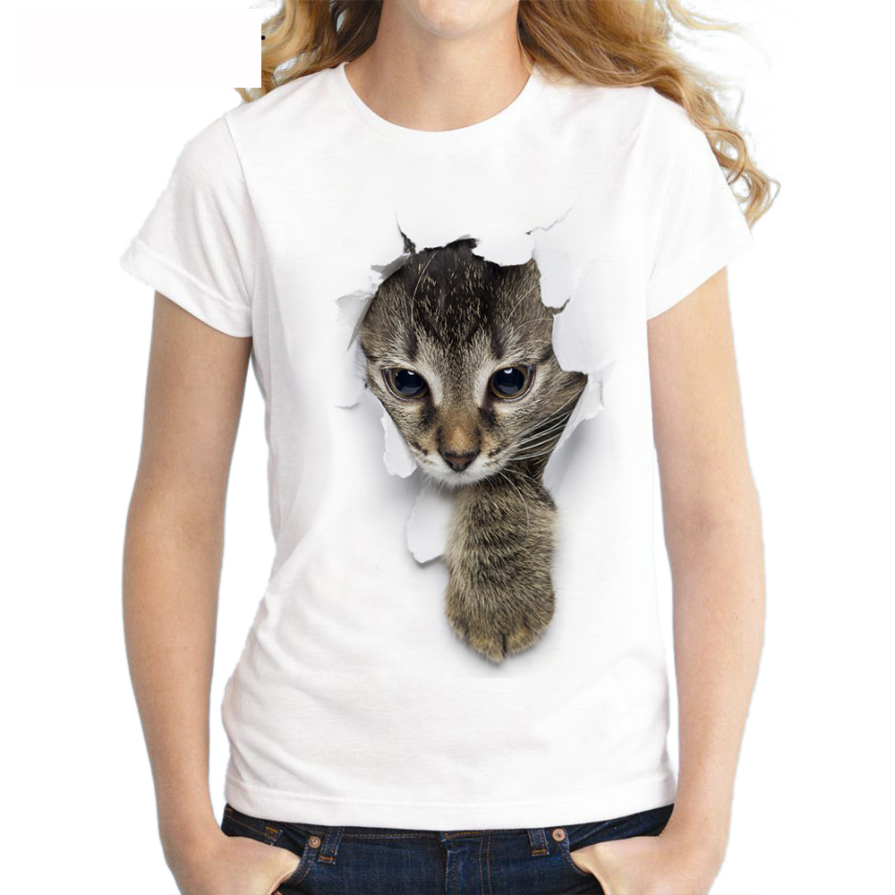 2017 Summer Naughty Cat 3D Lovely T Shirt Women Printing Originality O-Neck Short Sleeve T-shirt Tops Tee