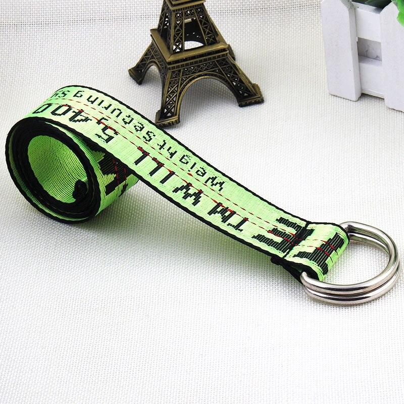 TagerWilen ремень стиль буквы напечатаны мода унисекс двойное D Кольцо холст ремень длинные джинсы ремни для женщин брезентовый мужской ремень - Цвет: Off-Green