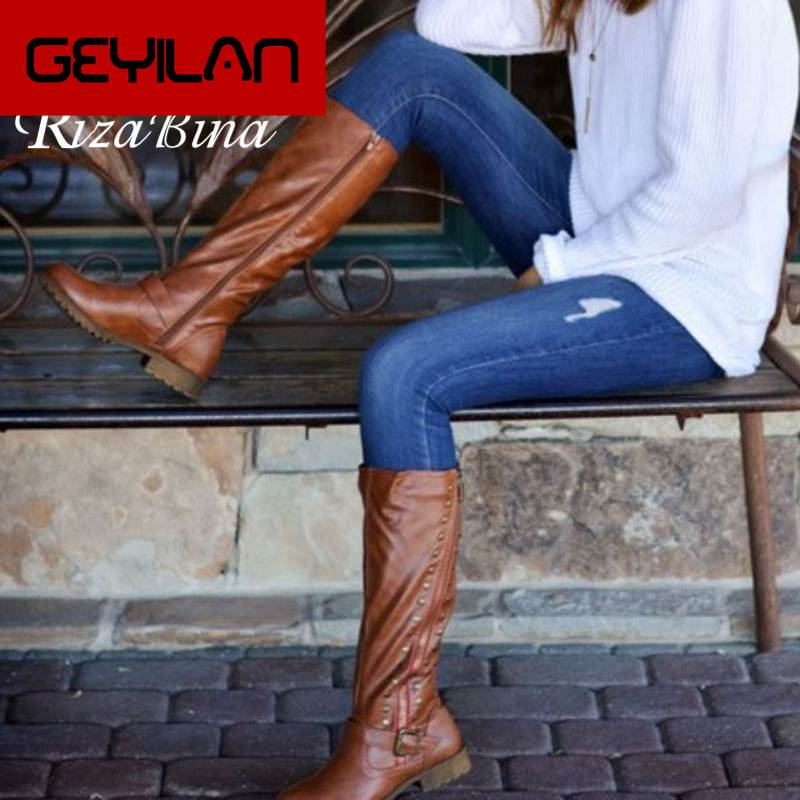 Knee High Boots For Women Casual Flats Outdoor Shoes Women Winter Knighting Boots Buckle Vintage Footwear Size 34-43