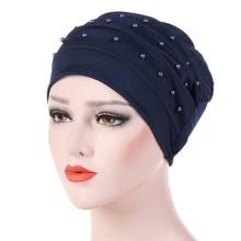 Moslim tulband voor vrouwen katoen turbante mujer chemo hoed kanker hoofddeksels vlakte tulband hijab femme musulman tulbanden kralen motorkap