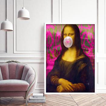strong Import List strong Mona Lisa biała guma balonowa plakat styl Banksy płótno obraz na ścianę sztuka nordycka zdjęcie z nadrukiem do salonu Home Decor tanie i dobre opinie JASBERHOMEDECOR CN (pochodzenie) Wydruki na płótnie Pojedyncze PŁÓTNO Wodoodporny tusz Obraz z postacią bez ramki Nowoczesne