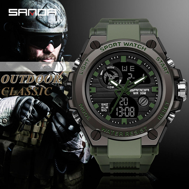 Sports Mens Watch Top Brand Luxury Military Quartz Electronic Watches Waterproof Vibration Alarm Clock relogio masculino SANDA