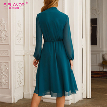 S.FLAVOR Boho Bow Tie Neck Chiffon Autumn Dress 2020 Women Long Sleeve Solid Casual Dress Elegant Winter Ladies Party Vestidos