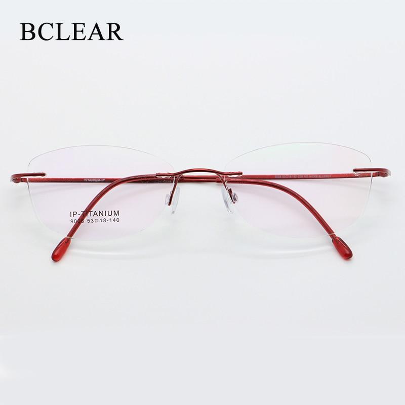 BCLEAR High Quality Ultra Light Pure Titanium Women Rimless Optical Frame Memory Three-piece Rimless Glasses New Fashion 9008
