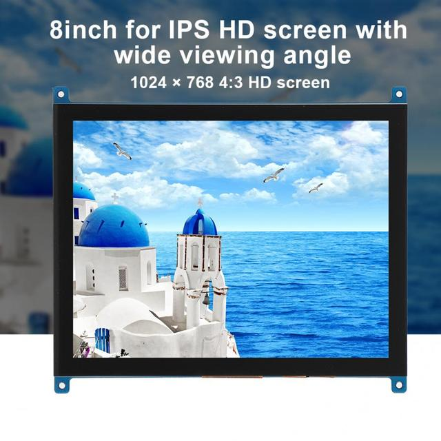 Demo Board Accessories For Raspberry Pi 4B/3B 8-Inch 4:3 1024 x 768 HD Highlight for IPS Capacitive Touch Screen with Wide