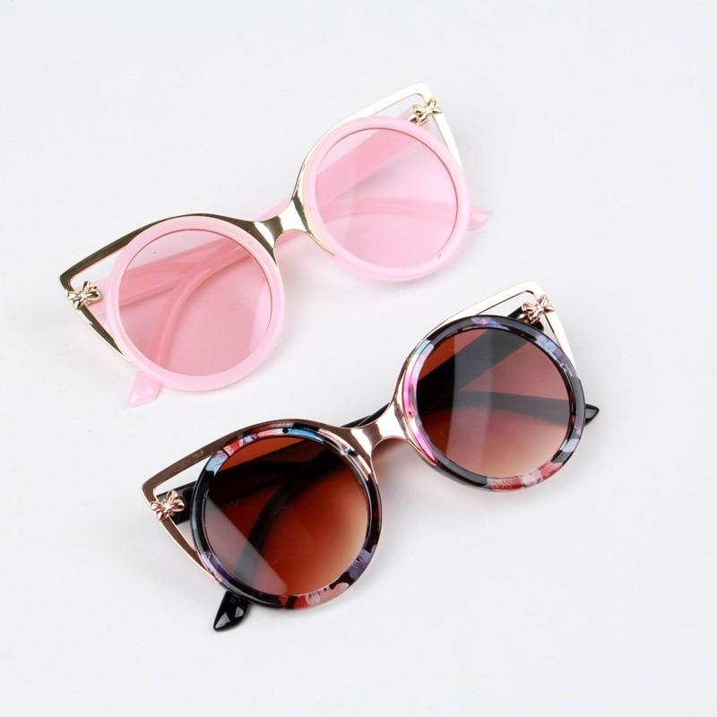 Retro Child Cat Ear Kids Sunglasses Vintage Oversized Round Children Sunglasses for Baby Infant Uv400 Mirror Boys Girls Gafas