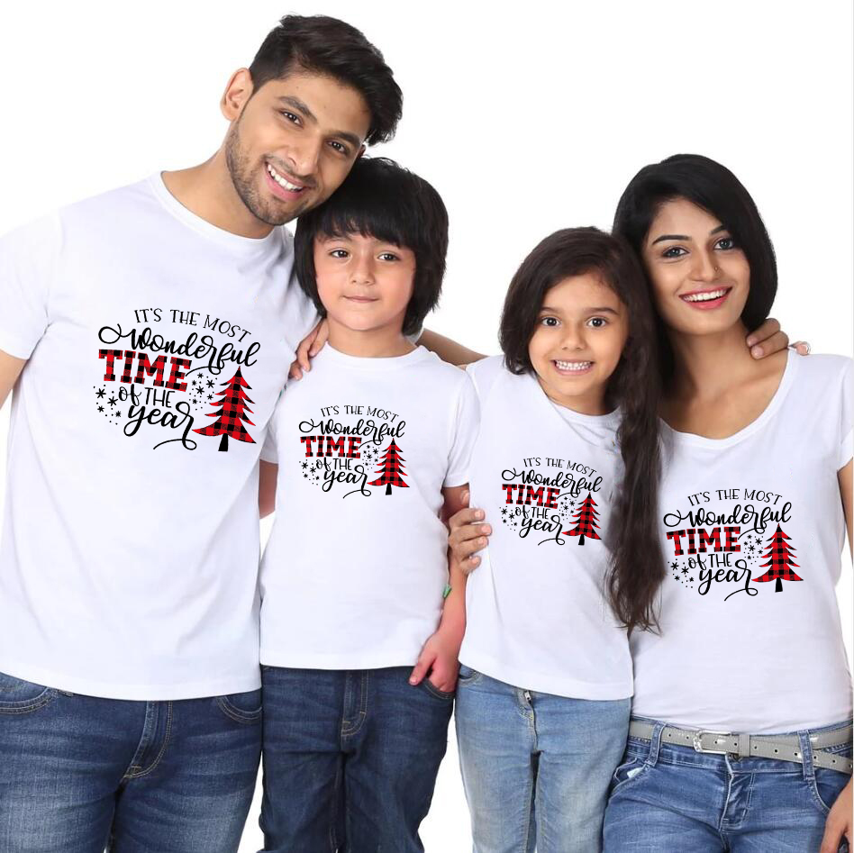 It's The Most Wonderful Time Of The Year Christmas Svg Buffalo Plaid T-shirt Baby Child Mom And Dad Family Look Christmas Tee