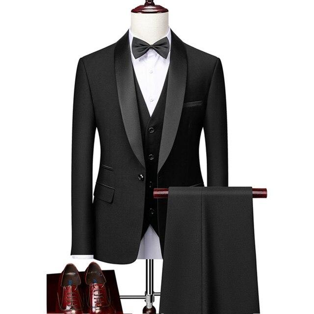Men Skinny 3 Pieces Set Formal Slim Fit Tuxedo Prom Suit / Male Groom Wedding Blazers High Quality Dress Jacket Coat Pants Vest 1