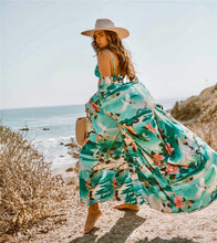 Women Pareo Beach Cover Up Green Crane Printing Bikini Dress Swimwear Female Robe De Plage Beach Cardigan Bathing Suit Cover Ups pareo beach white cover up chiffon bikini swimwear women robe de plage beach cardigan bathing suit swimsuit long blouse dress