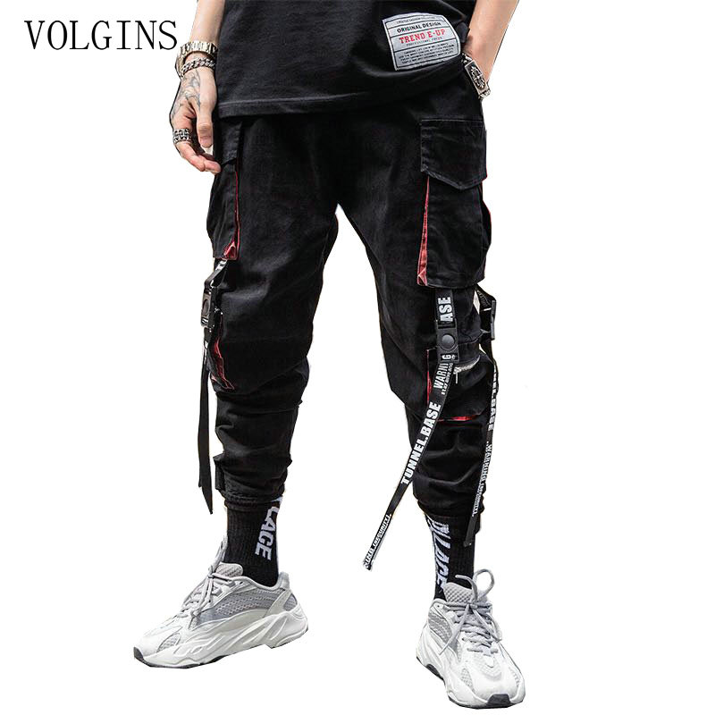 Streetwear Hip Hop Cargo Pants Pockets Men Casual Harajuku Harem Pants Pockets Ribbons Joggers Pants Black HipHop Sweatpants