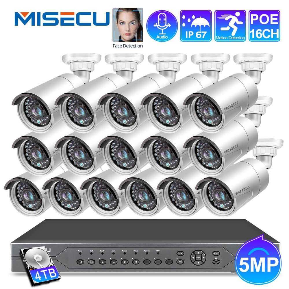 MISECU H.265 16CH 5MP POE NVR Kit Security IP Bullet Camera Audio Outdoor Waterproof Face Detection P2P Video Surveillance set