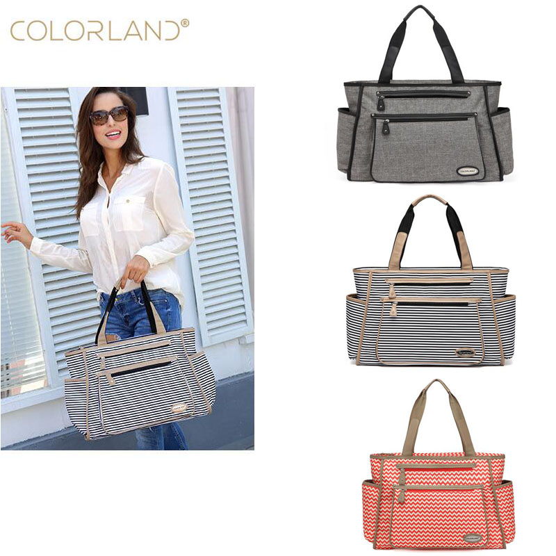 Colorland Fashion Ladies Bag Baby Care Diaper Bag Outdoor Travel Storage Bag Mummy Tote Bag Large Capacity Casual Mummy Bag