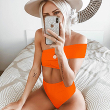 цены One Shoulder Swimwear Women Sexy Bikini Split High Waist Solid Bikini Set Push Up Two Pieces Swimsuits Bathing Suit 2019 Biquini
