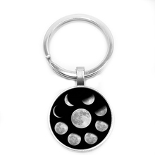 2019 New Hot Moon Cycle Phase Nebula Pagan Glass Cabochon Keychain, Retro Trend Style Keychain