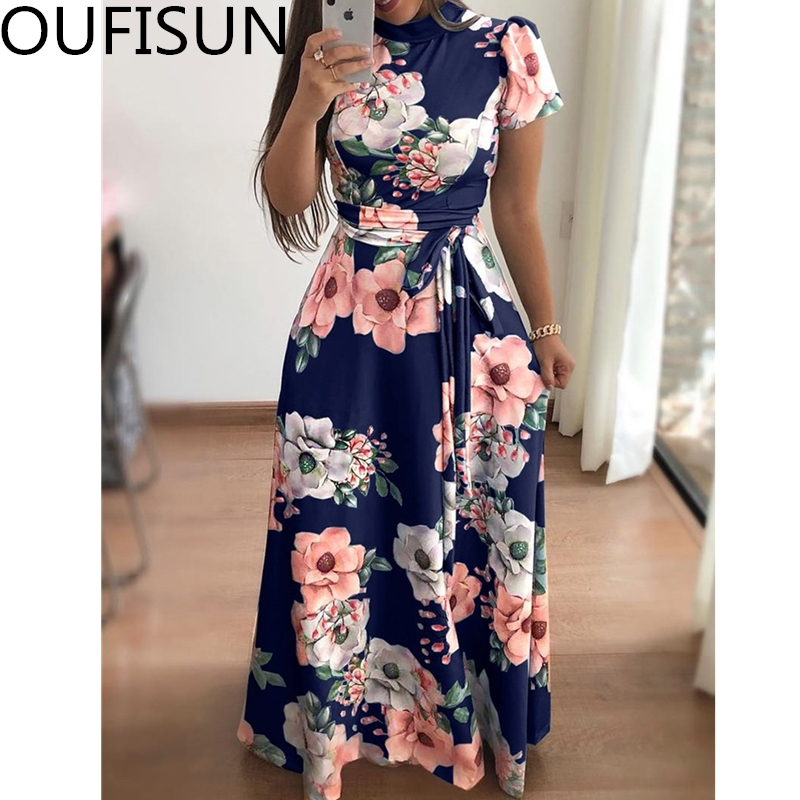 Women Summer Casual Short Sleeve Long Dress Boho Floral Print Slim Party Dress Turtleneck Sashes Dresses Vestidos Plus Size 5XL