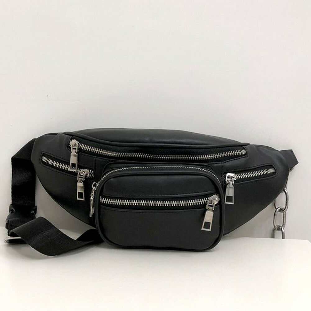 2019 Newest Style Men Women PU Waist Bags Chain Black Solid Fanny Pack Travel Belt Purse Shoulder Bags Tote Waist Bag