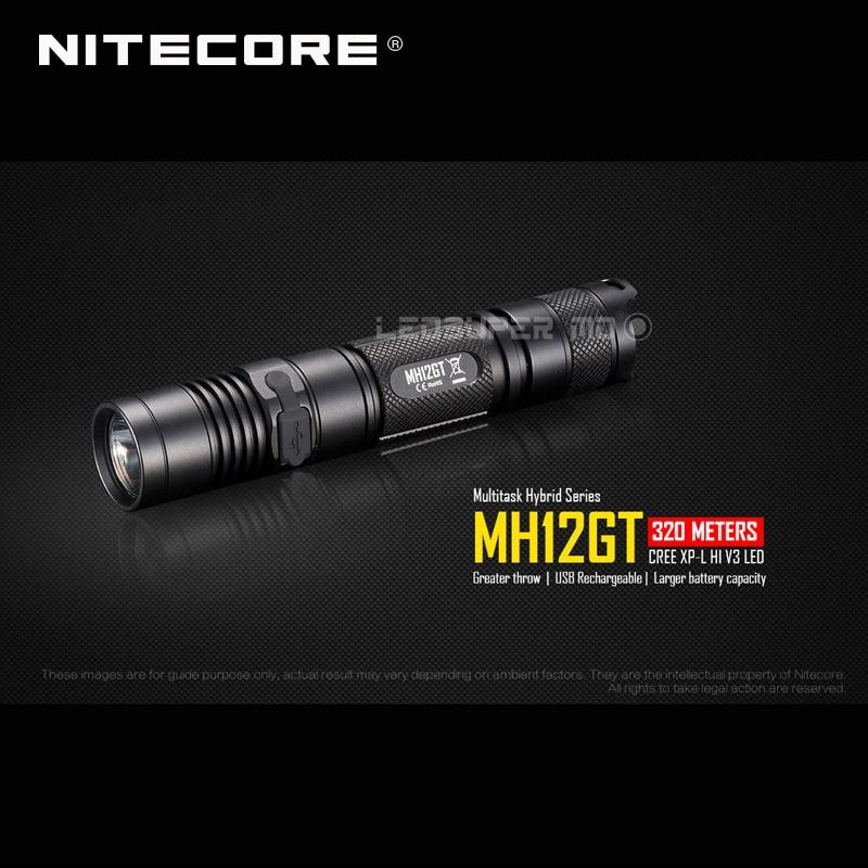 USB Rechargeable NITECORE MH12GT CREE XP-L HI V3 LED 1000 Lumens Flashlight With 3400mAh Battery